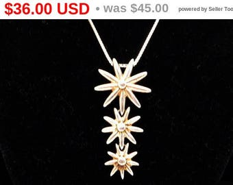 Spring Fling Sale Graduated Daisy Flowers Pendant -  Sterling Silver Chain & Pendant - Signed MG 925 - Modernist Style Vintage 1970s 1980...