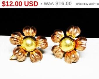Van Dell Goldfilled Earrings - Daisy Flowers in Two Tone - 1/20th 12K Gold Filled Screwback Earrings - Vintage
