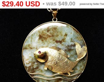 Summer Sizzler Sale Vintage Jade Pendant w Gold Tone Fish - Red Ruby Eye - Long Skinny Gold Tone Chain - Vintage 1970's 1980's Asian Insp...