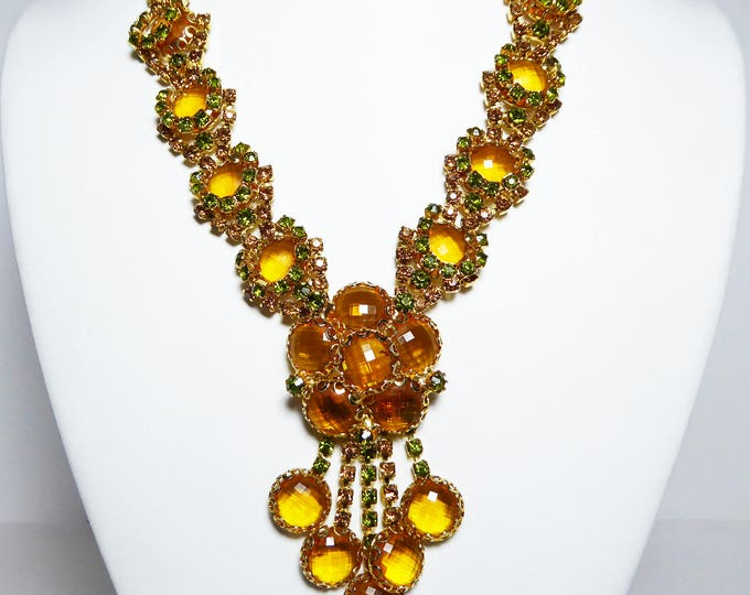 Gold, Green & Brown Rhinestone Necklace - Crystal Glass rhinestones - Drippy Dangling Formal Fall Runway Statement Jewelry Vintage 1960s