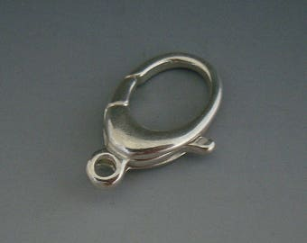 Large Lobster Clasp, Silver Oval Clasp, Sterling Silver Clasp, Sterling Clasp, Oval Clasp, Claw Style Clasp, 22mm