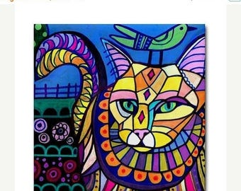 45% Off Today- Maine Coon Cat art Tile Ceramic Coaster Mexican Folk Art Print of painting by Heather Galler
