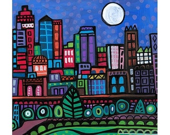 Kansas City Skyline art Tile Ceramic Coaster Mexican Folk Art Print of painting by Heather Galler City Missouri