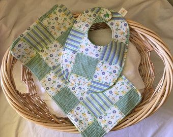 Green Patchwork Bib & Burp Cloth Set