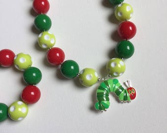 Hungry Caterpillar Jewelry - Caterpillar Bracelet - Hungry Caterpillar Birthday - Caterpillar Necklace - Hungry Caterpillar Birthday Party -
