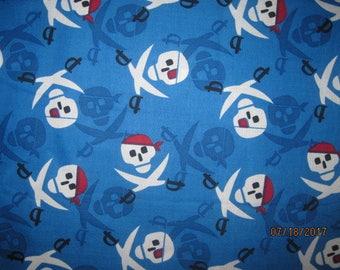 Skulls Fabric, Kids Skulls Fabric, Blue Skulls Fabric, skulls, american, boy, sword, pirate, head, Skull, red, white, blue