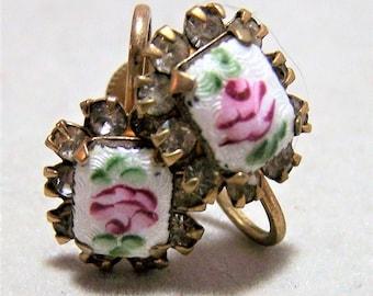 Guilloche Rose Flower Enamel Earrings, Crystal Rhinestone Border, Screw Back Style, Romantic Bridal Jewelry, Mid Century Jewellery  317