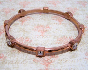 Graziano Crystal Rhinestone Bangle Bracelet ,Rose Gold Tone Alloy Metal, Square and Round Glass Stones, Arm Party, Layering Jewelry 417