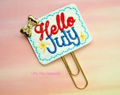 Hello July Month Glitter Planner Clip Paperclip