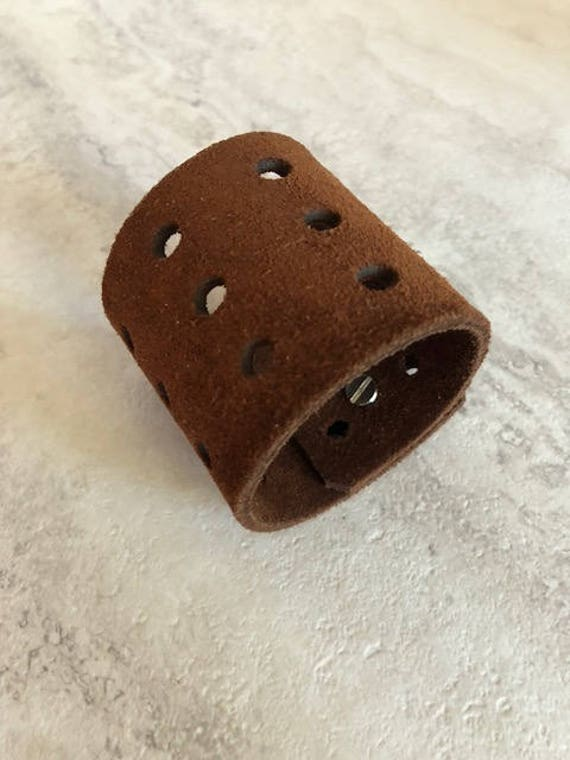 Handmade Essentials Women's Wide Brown Suede Leather Cuff Bracelet (6.75 inches)
