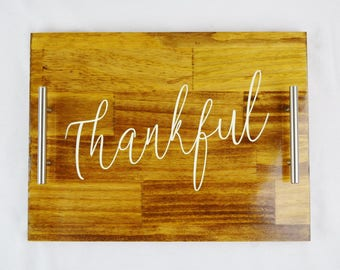 Thankful Stained Wood Serving Tray, Coffee Tray, Tea Tray, Espresso Tray