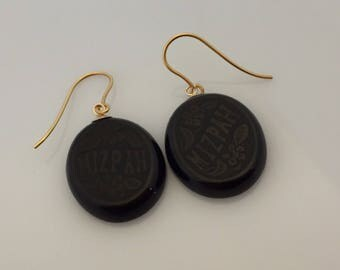 Victorian carved whitby jet antique Mizpah sweetheart drop earrings with 9ct gold fixings