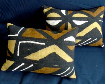 "Two pillows African Mudcloth Pillow 18"" x 13"" African mudcloth bogolanfini accent pillows"