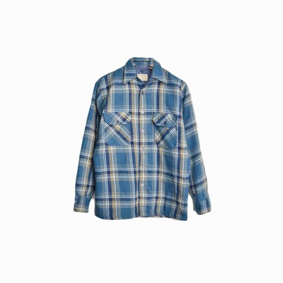Vintage 1970s Blue Plaid Shirt Jacket / Rugged Lumberjack Shirt - men's small