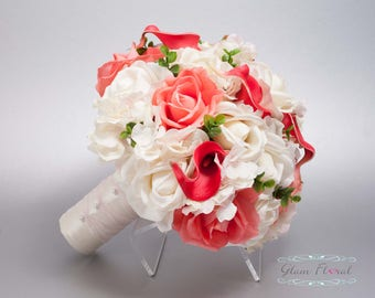Silk Wedding Bouquet. Coral Guava Bridal Bouquet. Silk Wedding Flowers Real Touch Flowers Caroline Roses Callas Lilies Greenery