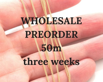 Unfinished vermeil chain by meter - gold plated sterling beveled curb chain 1x0.5mm - 50 meters wholesale preorder (three weeks)