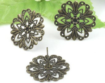20 Steel Post Earring W/ Brass Antique Bronzed 20mm Round Filigree Floral Base Setting- Z5251