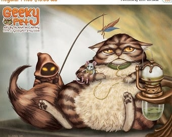 SALE Jabba the Cat - 10x8 art print -  Star Wars Jabba cat holding slave Leia mouse with a Jawa cat entertaining him with a feather toy