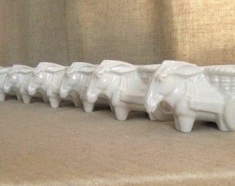 Vintage Donkey Cart Planter / White Ceramic Donkey Cart