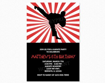 Karate Birthday Party Invitation, Taekwondo Birthday Party Invitation, Boy, Red, Black, Printable and Printed