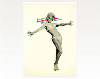 CLEARANCE SALE! A4 Sexy Female Portrait Print, Geometric Art - Playing Hard to Get