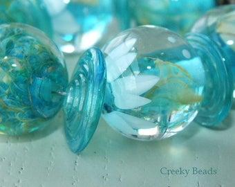"Handmade Lampwork beads ""Tuquoise Variety "" - Creeky Beads SRA"