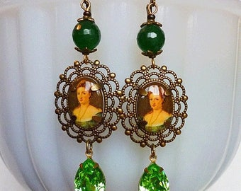 MEMORIAL DAY SALE Sale // Miss Absinthe // Vintage Cameo & Jeweled Earrings, Vintage Victorian Lady Cameos, 1950s Peridot Crystals, Green Ag