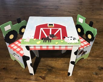 Farm table, childs table chairs, desks, Barn yard animals, tractors, cows,horses, chickens, pigs, custom your way