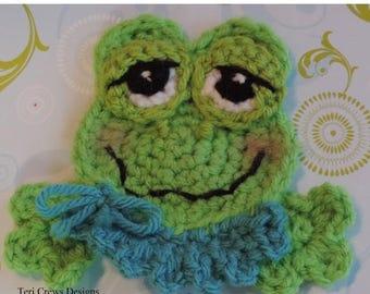 Summer Sale Cute Frog Applique Crochet Pattern Instant Download Instruction Tutorial Embellishment