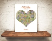 Personalized Map Art Heart Print Custom Birth Wedding Engagement Gift 1 Location Trending Now Copper Foil Lettering