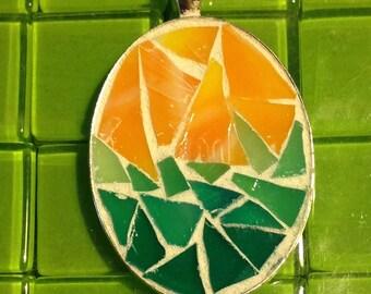 Mosaic sunrise at the sea oval silver plate pendant