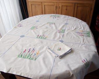Hand Embroidered Tablecloth 6 Napkins Vintage Cross Stitch Hollyhocks Foxglove