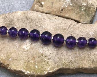 Luscious Purple Lampwork Glass bead set-Handmade-SRA M118