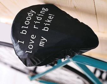 I Bloody Love Riding My Bike | Waterproof Bike Seat Cover | Gift For Cyclists | Bike Gift | Bike Accessories | Bike Saddle Cover