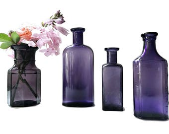 Old Purple Bottle Collection Antique Purple Apothecary Bottles Rustic Wedding Decor Decorative  Bottle Vases Violet