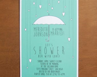 Umbrella hearts digital instant download bridal shower invitations with custom typography mint aqua teal