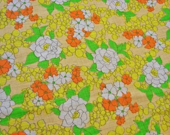 Vintage Cotton Fabric 1980s, White Yellow Orange Floral Fabric by the yard