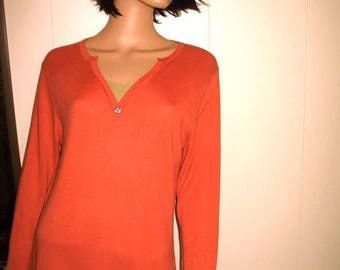 Super Soft 70 percent Bamboo 30 percent Cotton Coral And Beige Sweater by Haiku with Abalone Button Hardly worn