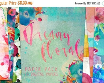 90% OFF Sale Dreamy Floral Watercolor Digital Paper Pack Patterns - 16 digital painted backgrounds