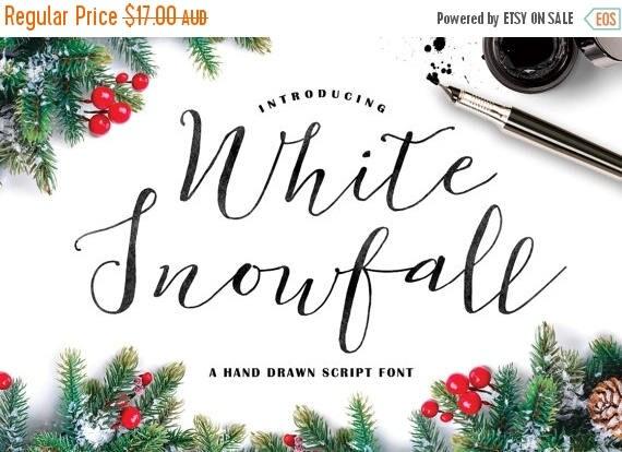 Digital Fonts 80% Off SALE White Snowfall Script Font, Hand drawn, modern Calligraphy, wedding font, cursive