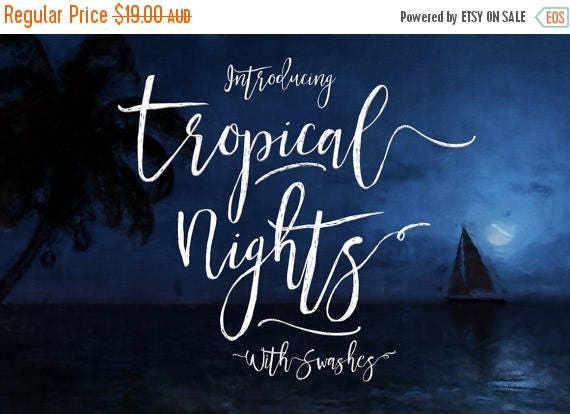 Digital Fonts 80% Off SALE Tropical Nights Script Fonts - Digital Typeface - Hand drawn Type