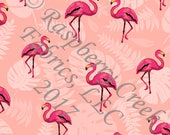 Coral and Bright Pink Palm Leaf Flamingo 4 Way Stretch MATTE SWIM Knit Fabric, By Corinne Wells Designs for Club Fabrics, PREORDER