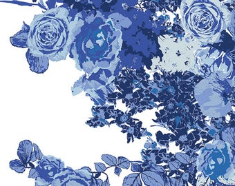 Tonal Royal Blue Floral Cotton Fabric, InBlue by Katarina Roccella for Art Gallery Fabrics, Bloesem Royal, 1 Yard