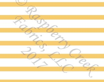 Yellow and White Stripe 4 Way Stretch Jersey Knit Fabric, Club Fabrics