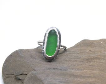 Sterling Sea Glass Ring - Kelly Green Beach Glass Ring - Size 7.75 US Ring - Lake Erie Beach Glass - FREE Shipping inside the United States