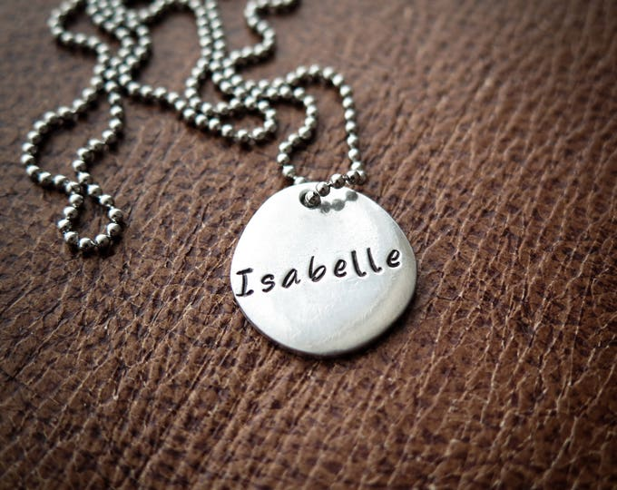Hand Stamped Pewter Personalized Kids Necklace - ID Tag - Custom Name - by Betsy Farmer Designs