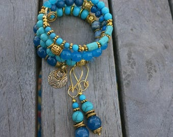 Gold and Blues - Memory Wire Bracelet and Matching Earrings