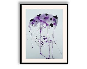 Purple Black Abstract Wall Art Minimalism Organic Watercolor & Ink Painting Simple Modern Home Decor Lilac Lounge