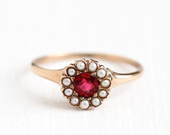 Antique Victorian 10k Rosy Yellow Gold Simulated Ruby & Seed Pearl Halo Ring - Size 5 1/4 Vintage Late 1800s Red Pink Glass Fine Jewelry
