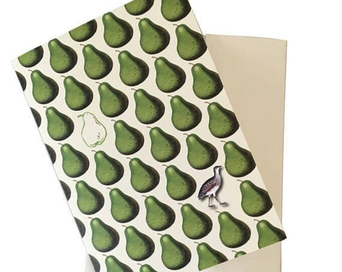 BLACK FRIDAY SALE Partridge and Pear Christmas Card or Thanksgiving Green Ivory Pear Scented